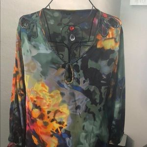 Silky multi colored blouse with beaded details